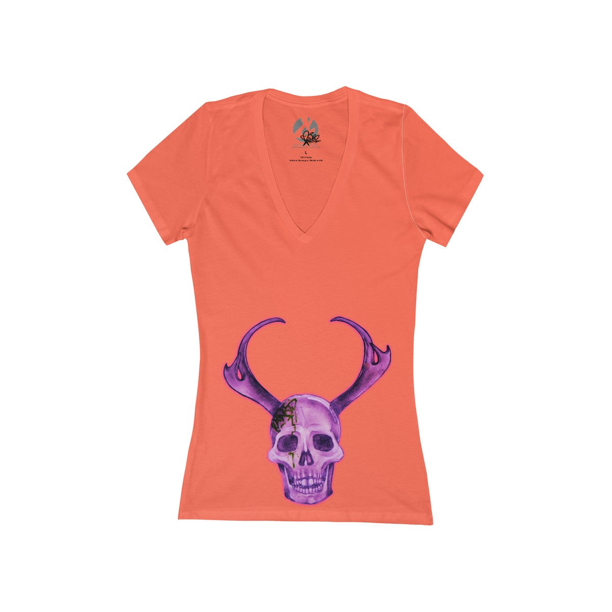 """Purple Skull"" Women's Jersey Short Sleeve Deep V-Neck Tee by Ripes - GaleraCollective"