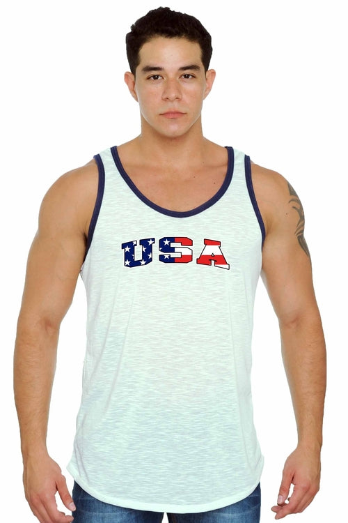 Men's USA Flag Tank Top Men's Red White & Blue - GaleraCollective