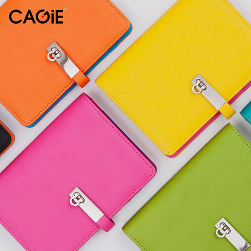 CAGIE 2016 New Candy Agenda Planner Spiral Leather Notebook Travel Journal/Personal Diary For Gift Fashion Brand Sketchbook - leathernbags