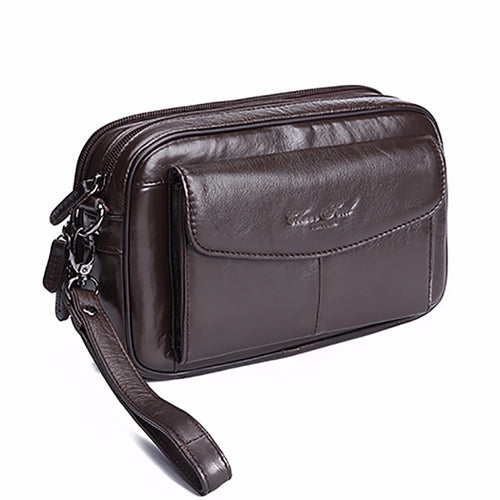 100% Genuine Leather Men Business Cltuch Bags Mobile Phone Case Cigarette Purse Pouch First Layer Cowhide Male Handy Bag Wallet - leathernbags