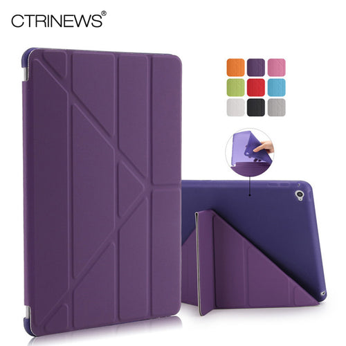 CTRINEWS Cover for Apple iPad Air 2 Smart Leather Case Multi Shape Folding Auto Wake Up Sleep Case for iPad Air 2 TPU Back Cover - leathernbags