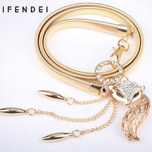 IFENDEI Women's Belts Hot Fox Gold Belt Chain Elastic Stretch Metal Strap Silver Adjustable Luxury Chain Ceinture Waist Dress |  USA I USA - leathernbags