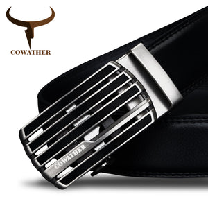 COWATHER  cow genuine leather strap male belt automatic buckle belts for men fashion style waistband original brand - leathernbags