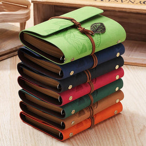 5 Inch 14.5x10.5cm PU Leather Vintage Khaki Paper Maple Leaf Photo Album Diary Notebook 80 Sheets Steel Ring Binding Lron Leaves - leathernbags