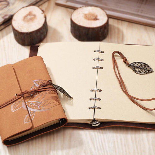 8.5 Inch 23..5x16.5cm Photo Album PU Leather 80 Sheets Khaki Paper Maple Leaf Diary Notebook Steel Ring Binding Lron Leaves - leathernbags