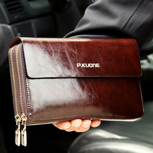 Hot Sale! Luxury Shining Oil Wax Cowhide Men Clutch Bag, Long Genuine Leather men wallets, Double Layer Business Clutch Bag - leathernbags