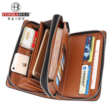 Business Men Wallet Long Designer Double Zipper Leather Male Purse Brand Mens Clutch Handy Bag Luxury Wallets carteira Masculina - leathernbags