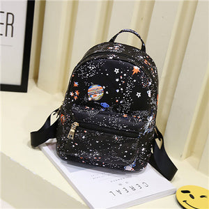 Fashion Star Universe Space Printing Backpack Black School Bags For Teenage Girls Small Backpack Women Leather Mochila Escolar - leathernbags