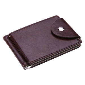 FLAMA Brand Mini Men's leather Money Clip wallet Pocket Purse with clamp Man Slim Credit Card Bag ID Holder for male - leathernbags