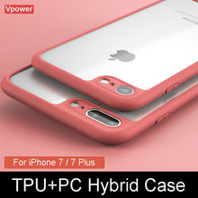 For iPhone 7 iPhone 7 Plus Case Cover Vpower Luxury TPU+PC Hybrid Transparent Phone Back Capa Cases For Apple iPhone 7 Plus - leathernbags