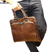 Men handbag Leather Mens shoulder Bag Crazy Horse Business Men's messenger Laptop bag casual men Briefcase |  USA I USA