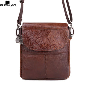 Fashion Brand mini portable Genuine leather Men bags High Quality Natural Cowskin casual Men messenger bags shoulder Satchel - leathernbags