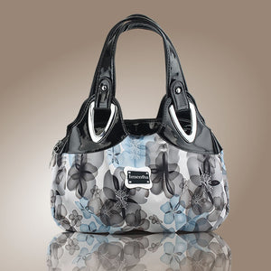 flower pattern Top-Handle Bags for Girls Hobos small Women Leather tote Bag Women Bag Female handbags black purses and handbags - leathernbags