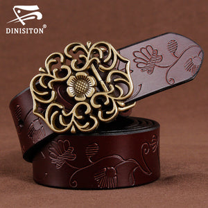 DINISITON women genuine leather belt  women's jeans belts luxury vintage high quality female belts woman cowskin strap Cinto - leathernbags
