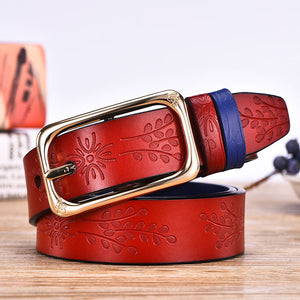 DINISITON Floral Carved Women Belt 6 Colour High Quality Designer Genuine Leather Second Layer Skin Female Strap Ladies belts - leathernbags