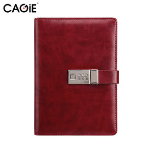 CAGIE Vintage Leather Journals and Notebooks Office&School Planner Agenda Lock Diary 280 Pages Men Business Gifts Personal Diary - leathernbags