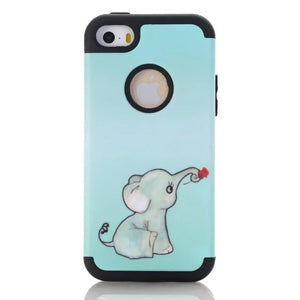 Case for iPhone 5C SE 5S Case Elephant 3-in-1 Impact Hard & Soft Silicone Hybrid  Armor Phone Cases w/Screen Protector Film - leathernbags