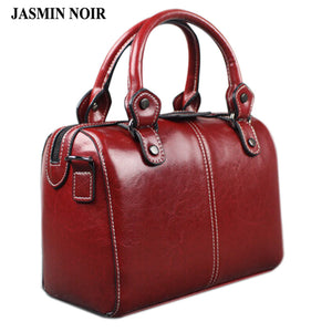 Real Cow Leather Ladies Women Genuine Leather Handbag Shoulder Bag High Quality Designer Luxury Brand Boston Crossbody Bag - leathernbags