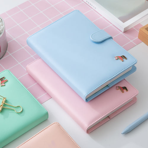 Korean Kawaii Cute Colorful Pages Plan Daily Weekly Monthly Yearly Planner Agenda Dairy Macaron Cover Notebook 2018 Organizer A5 - leathernbags