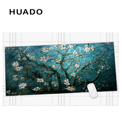 600x450mm Blue Flowers Extended Gaming mouse pad Large Mousepads Big Size Desk Mat for office work/ overwatch - leathernbags