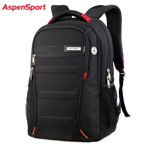 Aspen Sport Men Laptop Backpack 15.6-17 Inch Rucksack SchooL Bag Travel Waterproof Backpack Men Notebook Computer Bag Black - leathernbags