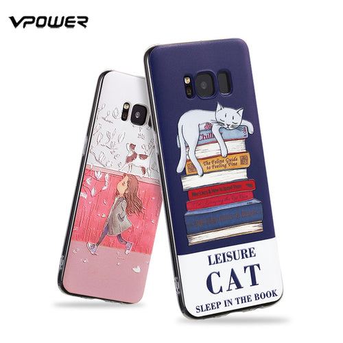 Vpower Case For Samsung Galaxy S8 Case 3D Relief Soft Silicone Protection Cases Cover For Samsung Galaxy S8 Plus - leathernbags