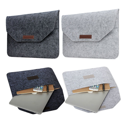 Slim Wool Felt For Macbook Pro Retina 13 15 Sleeve Bag Notebook Flip Laptop Cover For Macbook Air 11 12 13 Handle Case - leathernbags