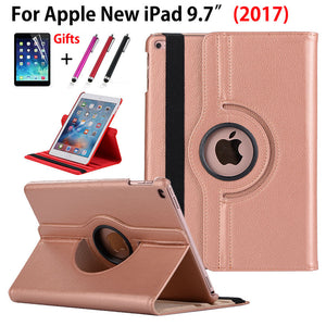 360 Degree Rotating Case For Apple New iPad 9.7 2017 Case Cover Funda Tablet Model A1822 PU Leather Stand Shell+Stylus+film - leathernbags