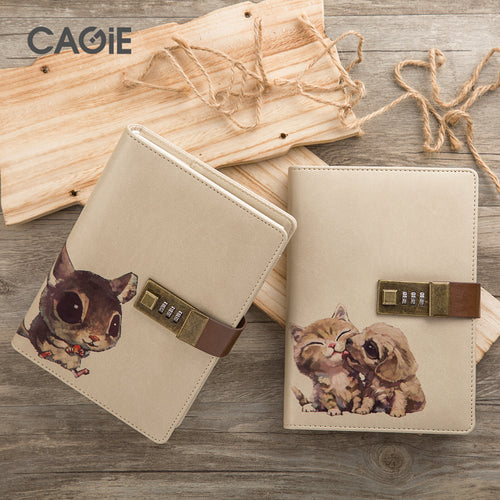 CAGIE 2017 New Agenda Cute with Lock Notebook Kawaii Pet for Creative Travelers Diary Planner Notebooks Cat Personal Journals - leathernbags