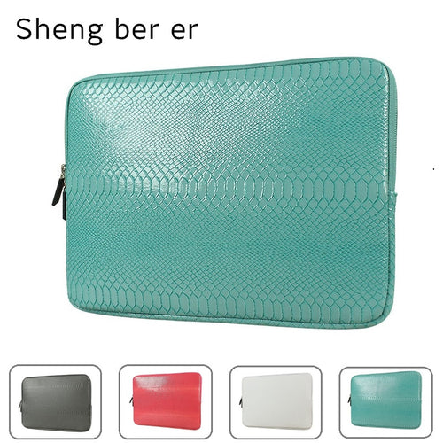 2017 Brand Sheng Bei Er Snake Leather Sleeve Case For Laptop 12,13,14,15,15.6 inch, Bag For MacBook Air Pro 13.3