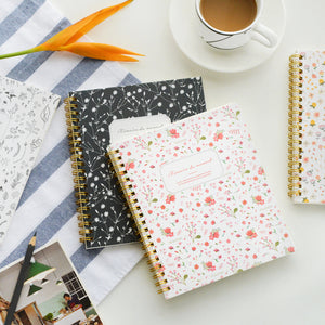 Korean Flower Floral Style Kawaii Cute Line Notebooks And Journals Personal Diary Sketchbook Day Plan School Supplies Stationery |  USA I USA - leathernbags