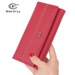 High Quality Women Leather Wallet Holder Long Design Clutch Female Purse Real Soft Cowhide 3 color |  USA I USA - leathernbags
