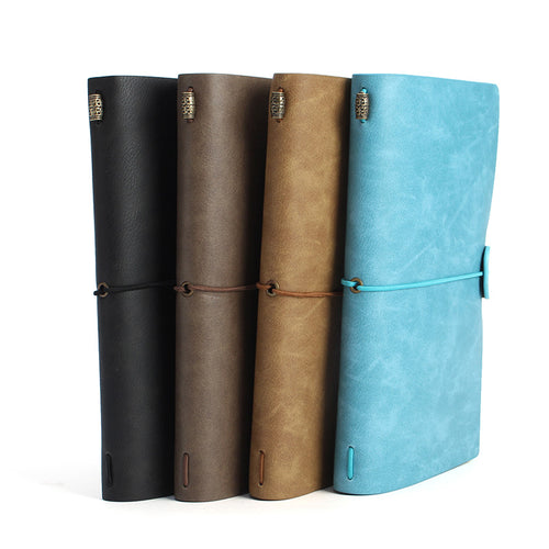 Kicute 1pc Vintage Leather Cover Notebooks Diary Journals Agenda Blank Kraft Paper Sketchbook Handmade Travel Notebook Gift - leathernbags