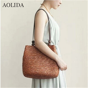 AOLIDA Summer Fashion Female Beach Bags Women Straw Woven Sac A Main Travel Casual Shoulder Bags For Ladies Solid Bolsas - leathernbags