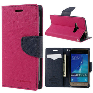 Mercury Goospery Double Color Leather Flip Case Cover For Samsung Galaxy S4 S5 S6 S8 A3 A5 A7 J1 J3 J5 J7 - leathernbags