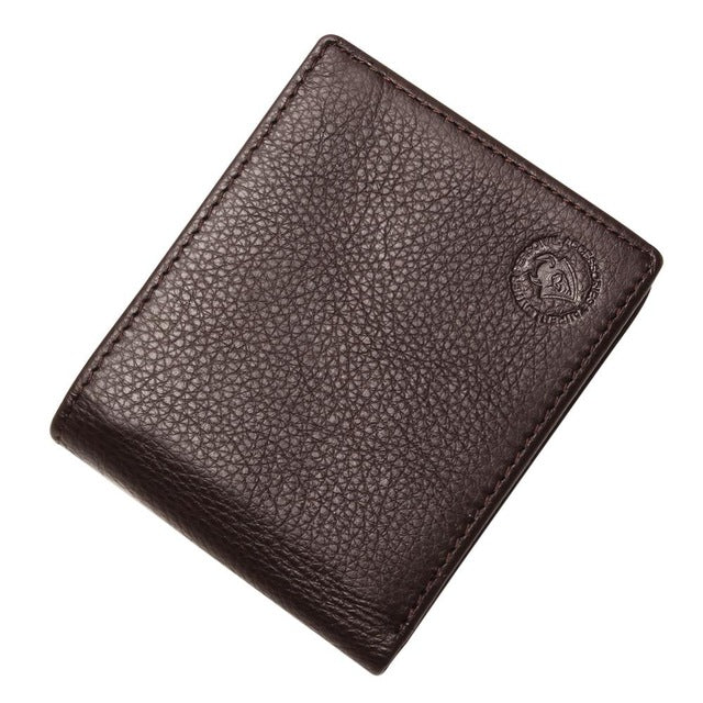 Excellent Genuine Cow Leather Coffee Wallet For Office Man Men's Vintage Wallets Coin Purse - leathernbags