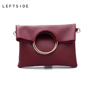 2 pcs  Handbag Pu Leather Women Evening Clutch Bags Designers Messenger Bags For Girls Womens Clutches Rings - leathernbags