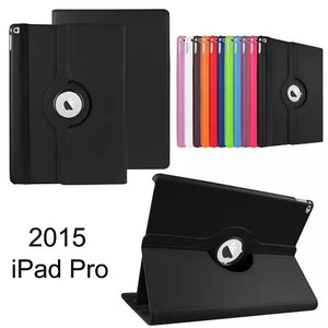For Apple iPad Pro 12.9 2016 Cover Case 360 Rotating Smart Cover For iPad PU Leather Protect Fundas W/Screen Protector+Stylus Pen - leathernbags