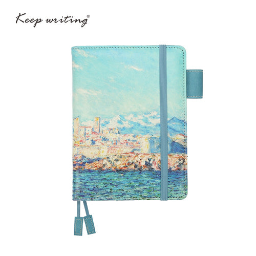 A6 notebook Grid Paper Lined Dotted Diary Blank pages can choose planners journal Stationery small notepad Oil painting cover - leathernbags