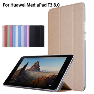 "Case For Huawei MediaPad T3 8.0"" KOB-L09 KOB-W09 Cover Funda Tablet PU Leather Flip Folding Folio Case For Honor Play Pad 2 8.0"