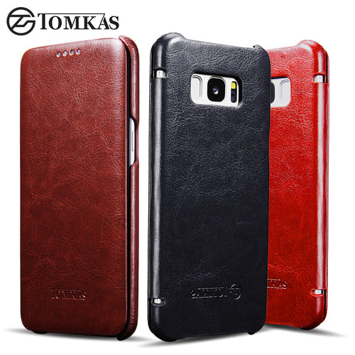 Case For Samsung Galaxy S8 S8 Plus TOMKAS Vintage PU Leather Flip Cover Case For Samsung Galaxy S8 Plus Business Phone Bag Cover - leathernbags