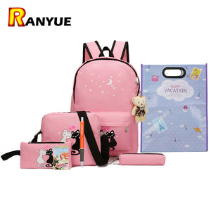 8Pcs Cute Animal Star Printing Backpack Women Canvas Backpack School Bags For Teenagers Girls School Backpack Set Women Bookbags - leathernbags