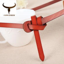 COWATHER Luxury women belts cow genuine leather fashion design strap female nice quality cinto feminino