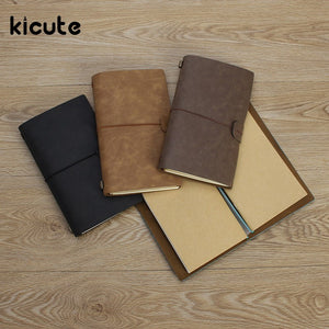 Kicute Retro Leather Cover Notebooks Diary Journals Agenda Blank Kraft Paper Sketchbook Handmade Travel Notebook Gift - leathernbags