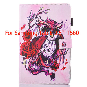 Fashion Animal Flip PU Leather sFor Samsung Galaxy Tab E 9.6 Case For Samsung Galaxy Tab E T560 SM-T560 T561 Smart Cover Cases - leathernbags
