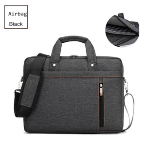 Burnur New 13.3 14.1 15.6 17.3 Inch Laptop Bag Shockproof Airbag Waterproof Computer Bag Thick Notebook Sholder Bag men Women - leathernbags