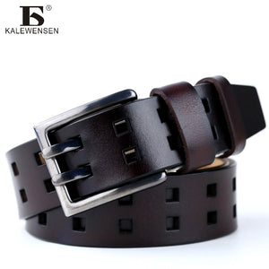 Belt Double Pin Buckle Cowhide Leather Belt For Men Ceinture Homme Men Belt For Jeans Black Coffee Navy 4067 - leathernbags