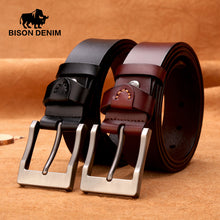 BISON DENIM 100% stylish belts men coffee brown Belt Cowboy Genuine Leather Smooth Buckle wedding casual Jeans N71022 - leathernbags