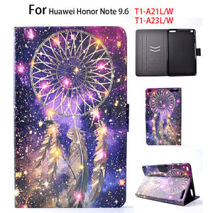 For Huawei Mediapad T1 10 Flip Leather Case For Huawei Honor Note 9.6 T1-A21W T1 10 T1-A21L T1-A23W/L Cover Painted Tablet Funda