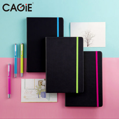 CAGIE Vintage Black Weekly Planner Notebook Colorful Straps Fine Person Agenda Organizer Notebook and Pen Gift Set - leathernbags